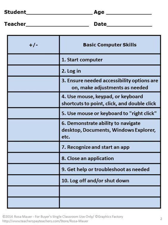 Computer Skills Free Checklist Teaching Computer Skills
