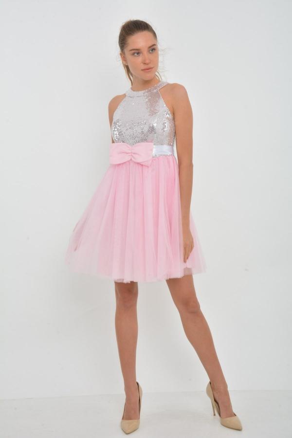 Prenses Model Kisa Payetli Pudra Abiye Kapida Odemeli Ucuz Bayan Giyim Online Alisveris Sitesi Modivera Com The Dress Giyim Elbiseler