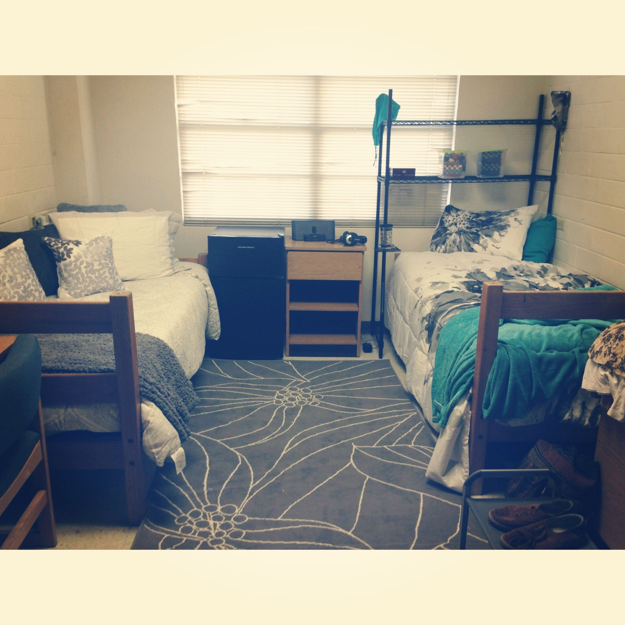 Best Our Dorm Room In Progress Gray White With A Pop Of Teal 400 x 300