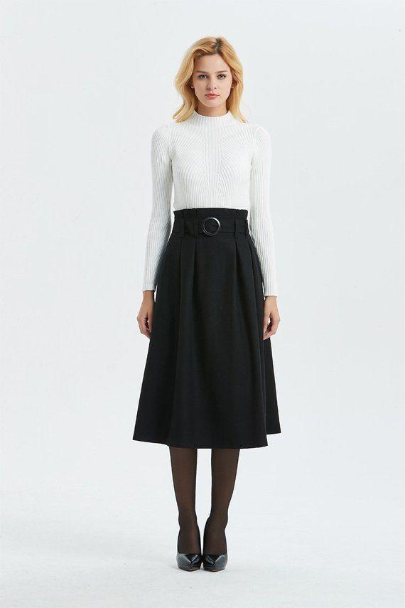 3bf9e09c8 black wool skirt, high waist & midi skirt, pretty womens skirt - winter  skirt with pockets, pleated
