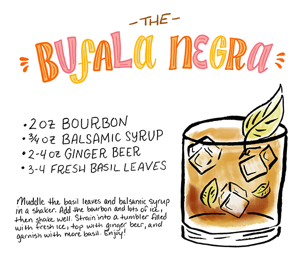 Cocktail Fridays: The Bufala Negra, with bourbon, balsamic, and basil | Illustration: Shauna Lynn for Oh So Beautiful Paper