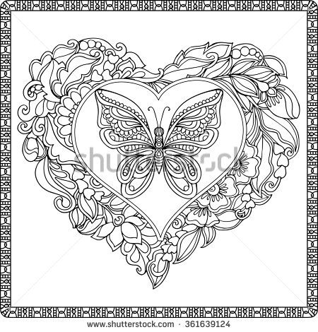 Love Heart With Butterfly Coloring Book For Adult And Older Children Page Outline Drawing Vector Illustration Decorative In Zentangle Style