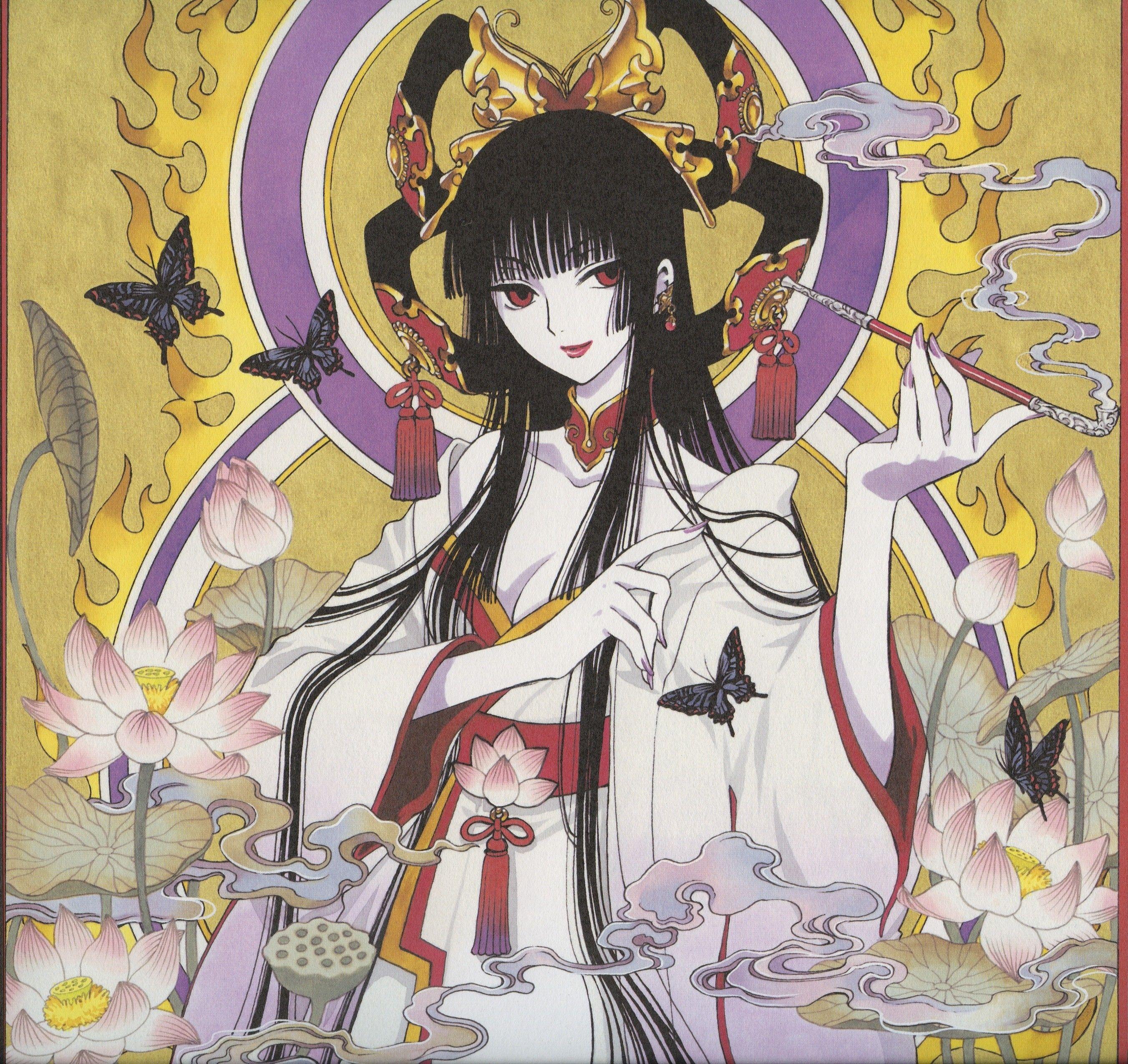 CLAMP, xxxHOLiC, Ichihara Yuuko, Lotus (Flower), Purple Nails, Blunt Bangs