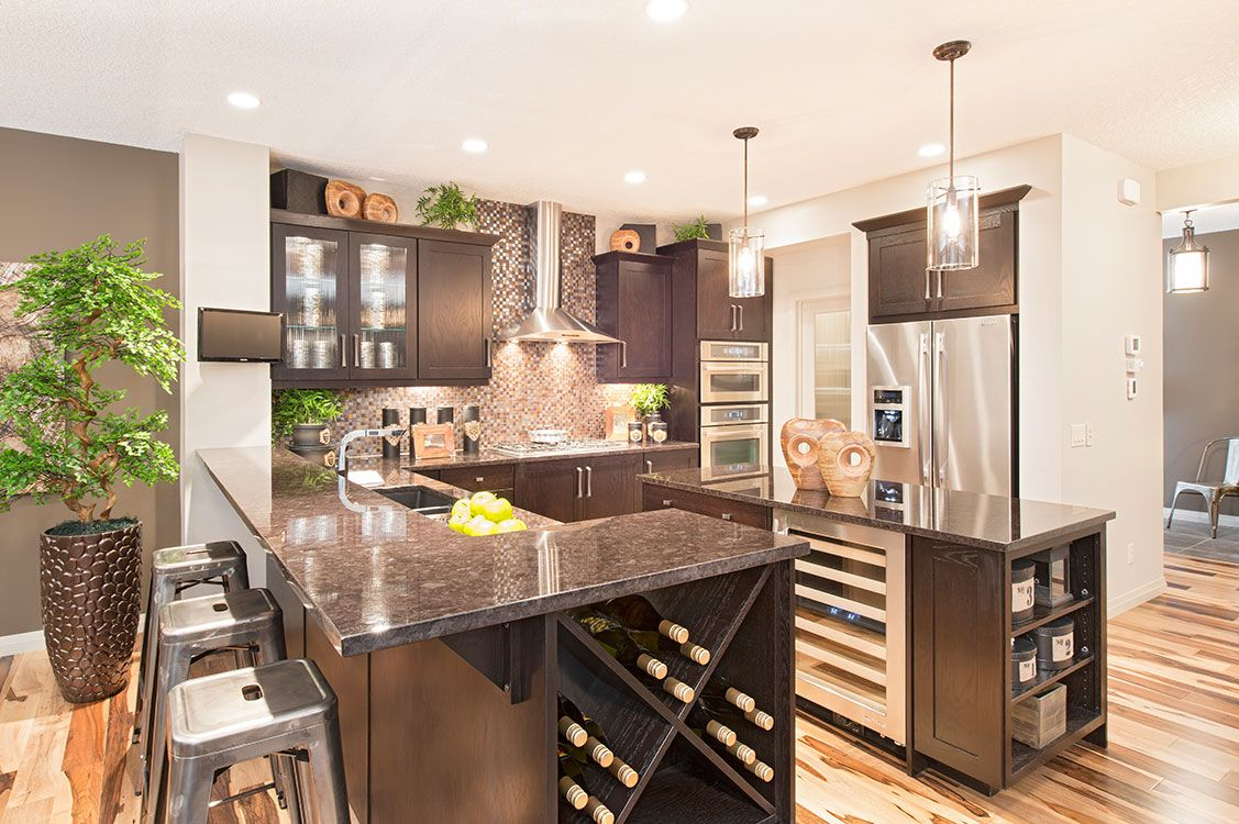 Kitchen design with dark oak cabinets, glass doors   Home ...