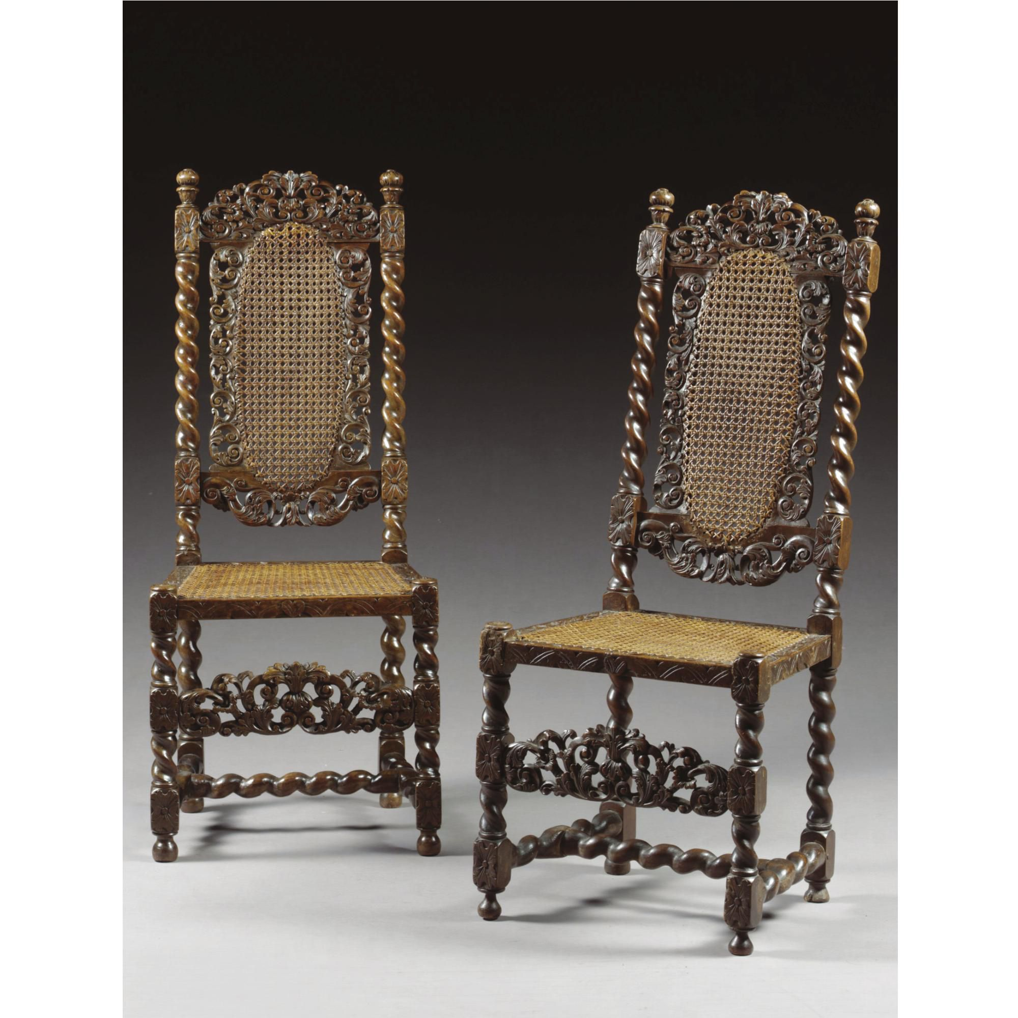 Chair table 17th century - A Pair Of Chairs William And Mary Late 17th Century Walnut And Cane