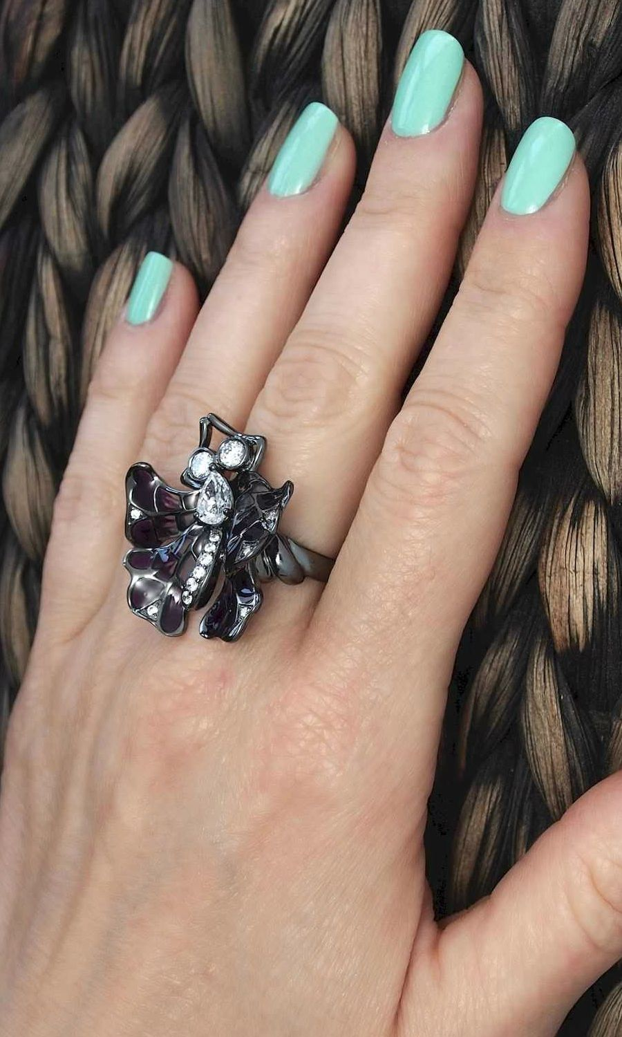 Butterfly Large Statement Cocktail Ring Sterling Silver Purple
