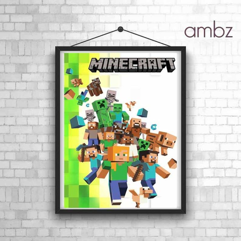 Minecraft poster for kids bedroom games room wall art in