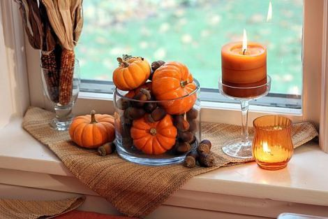 Pumpkins and acorns a darling idea for fall décor.