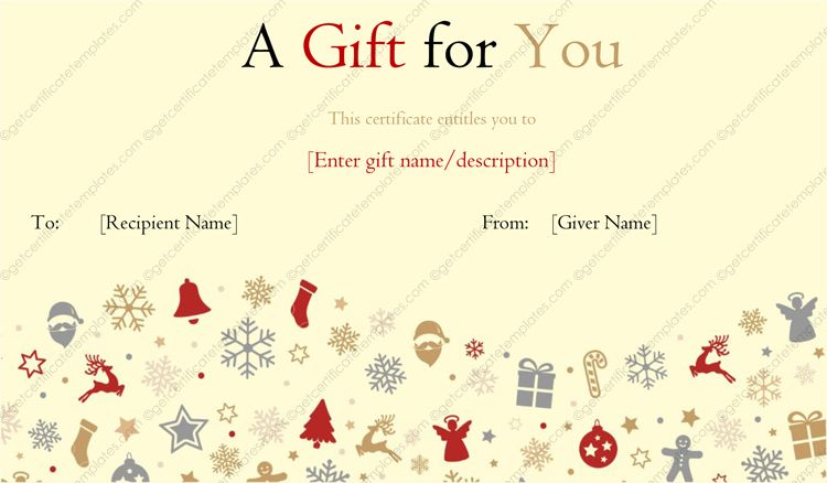Angels And Candies Gift Template Merry Christmas Gift Certificate