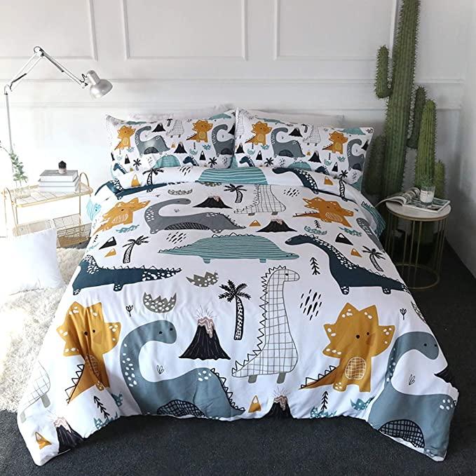 Arightex Dinosaur Print Bedding, Queen Size Dinosaur Bedding Set