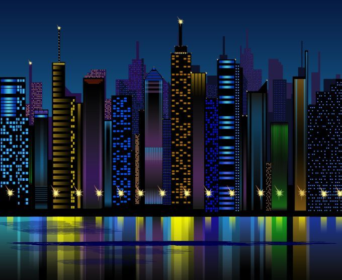 30 Cool Free Vector Night Scenes For Designers City Vector Night City City Background
