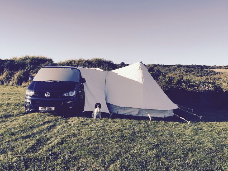 T5s look very swish with our drive away bell tent awning ...
