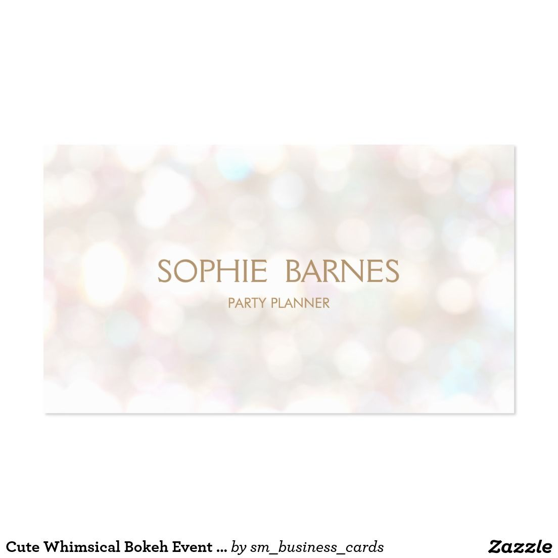 Cute Whimsical Bokeh Event Party Planner Business Card | Event ...