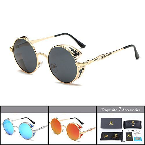 45434cd6ba SZ LINGKE Polarized Mirror Big Round Metal SteamPunk Round Cycle SunGlasses  For Men Women