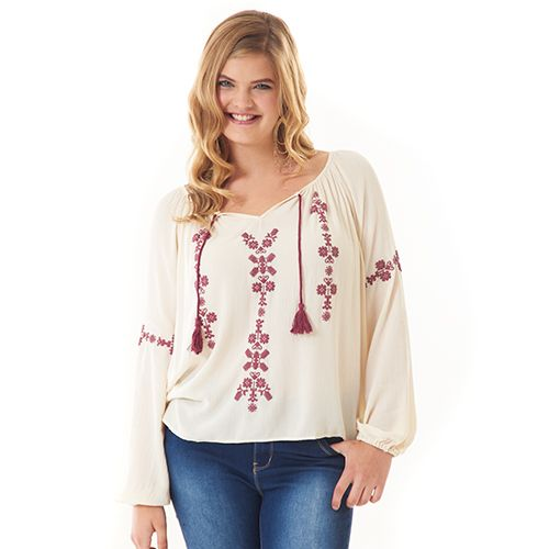 Juniors Plus Taylor & Sage Knit Peasant Top