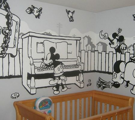 Breathtaking Disney Inspired Murals For Babyu0027s Nursery   Vintage Black And  White Mickey Mouse Part 97