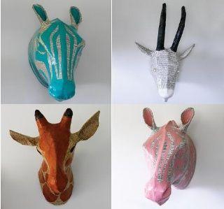 February 2012 Sculpture Animal Heads Paper Mache