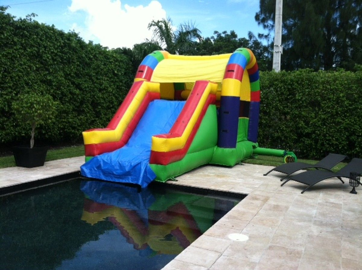 Combo Rainbow Into Pool Water Slides Pool Pool Floats