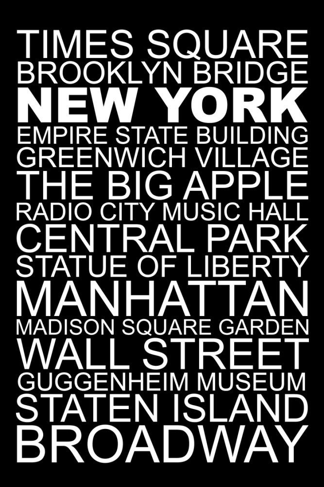 New York Destination Print 20inx30in White on Black. From