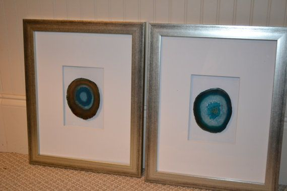 Set Of 4 Teal Framed Agate Slices Agate Frame Agate Coasters