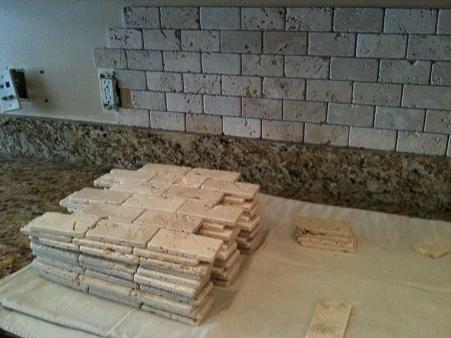 Tumble Travertine Backsplash 2x4 Tumbled Brick Chiaro