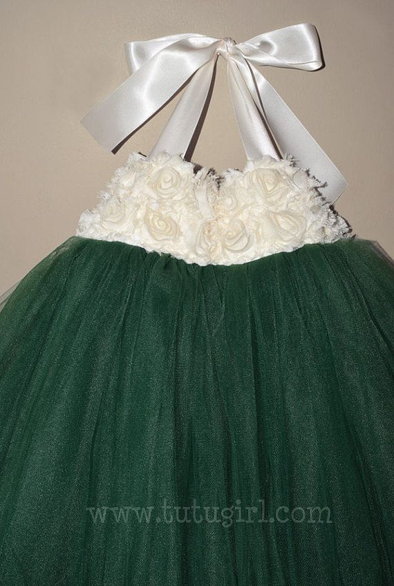 3d105de028a7 Emerald Green Tutu Dress, Emerald Ivory Flower Girl Tutu Dress ...