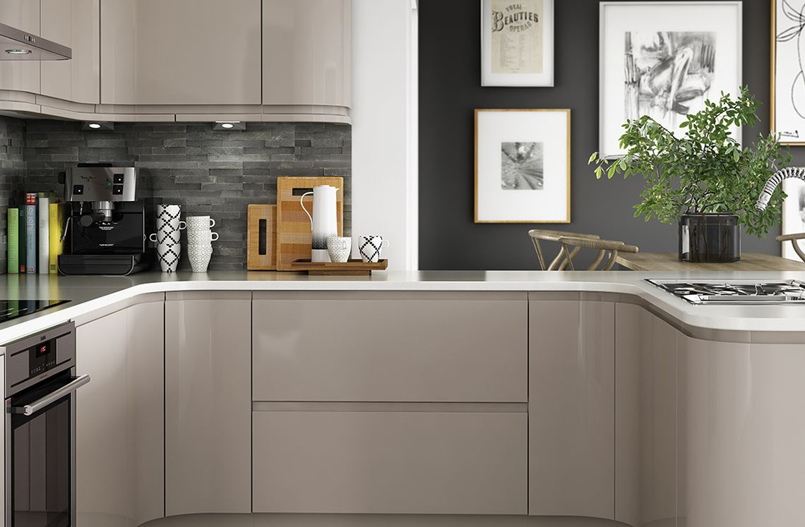 Grey kitchen modern kitchen london by lwk kitchens london - Cut Price Kitchens Sculptured Grey Gloss Kitchen Stylish And Modern Design Wrapped In High Gloss Dark Grey Pvc Integral Handle To Create A Minim