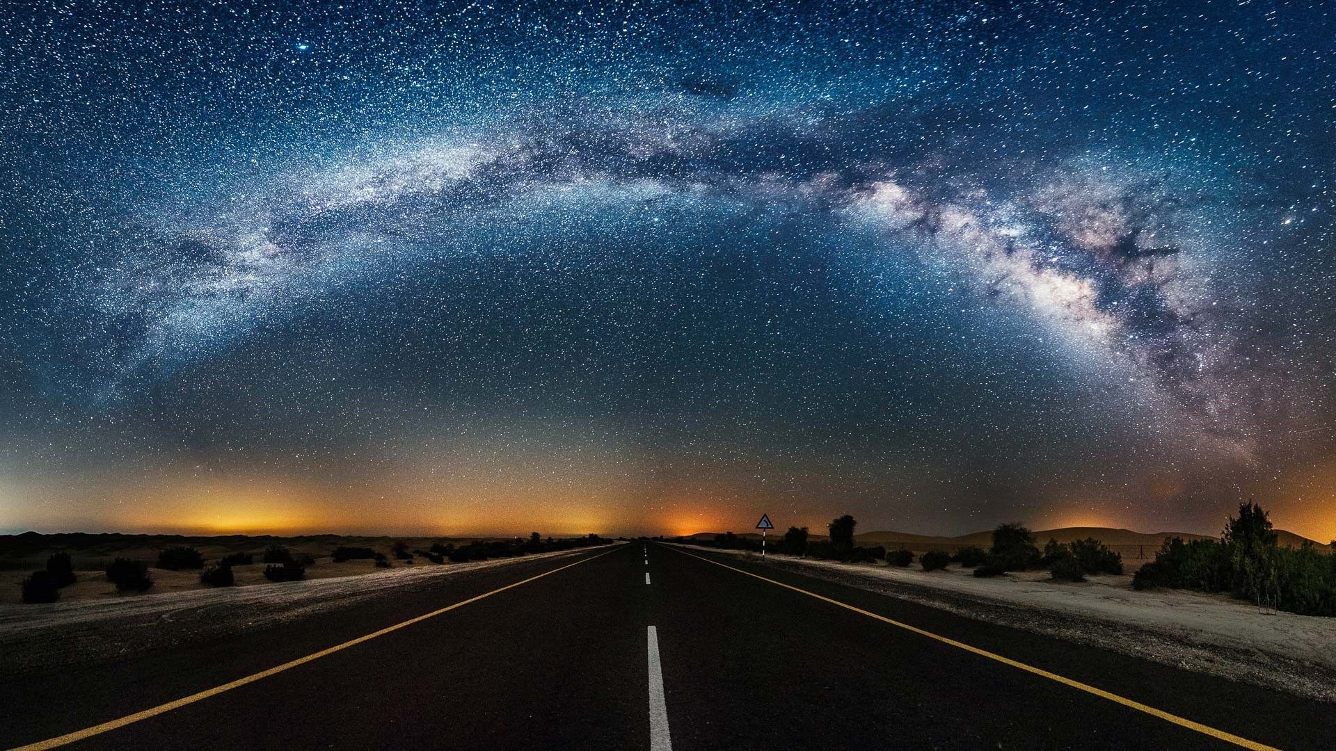 Starry Night Open Road Hd Wallpapers For Laptop Wallpaper Desktop Photography