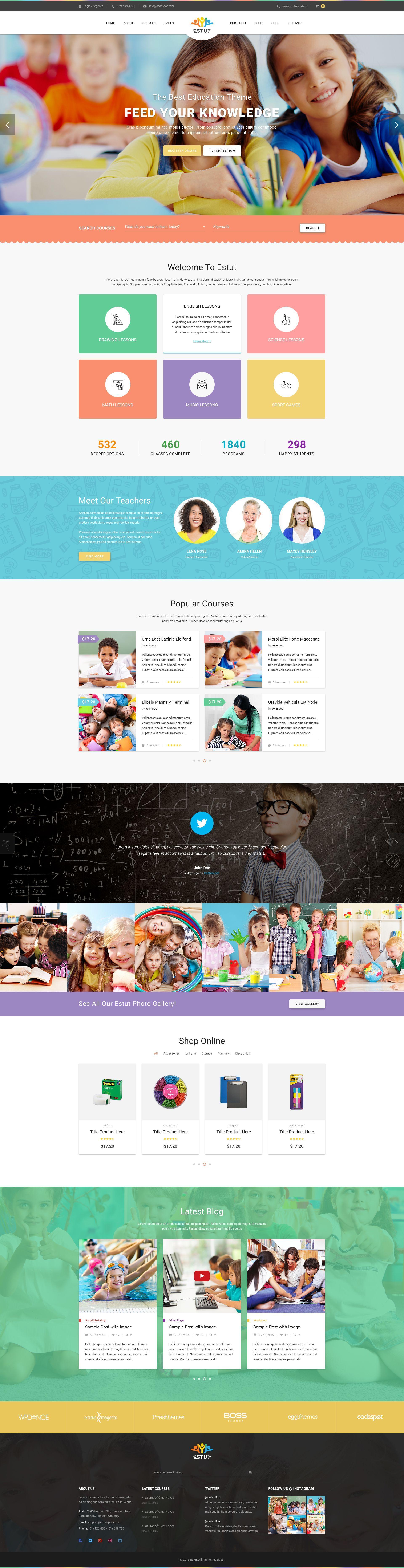 Estut Educational Material Design Html Template Web Layout Design Education Design Website Design Layout