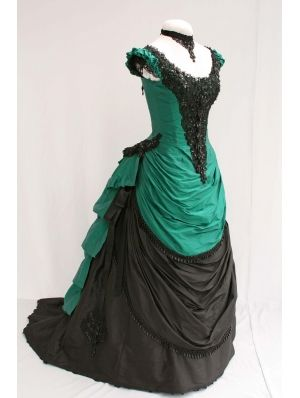 Green And Black Short Sleeves Victorian Bustle Ball Gown 19th