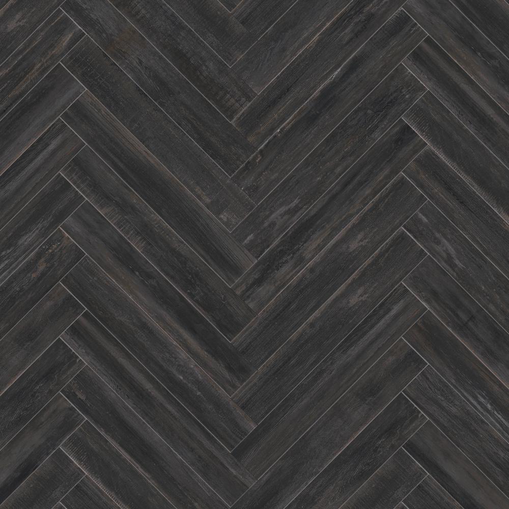 Indesign Rathwood Blauen Black 7 5 In X 47 In Porcelain Floor Tile 14 99 Sq Ft Carton In B Porcelain Flooring Porcelain Floor Tiles Porcelain Wood Tile