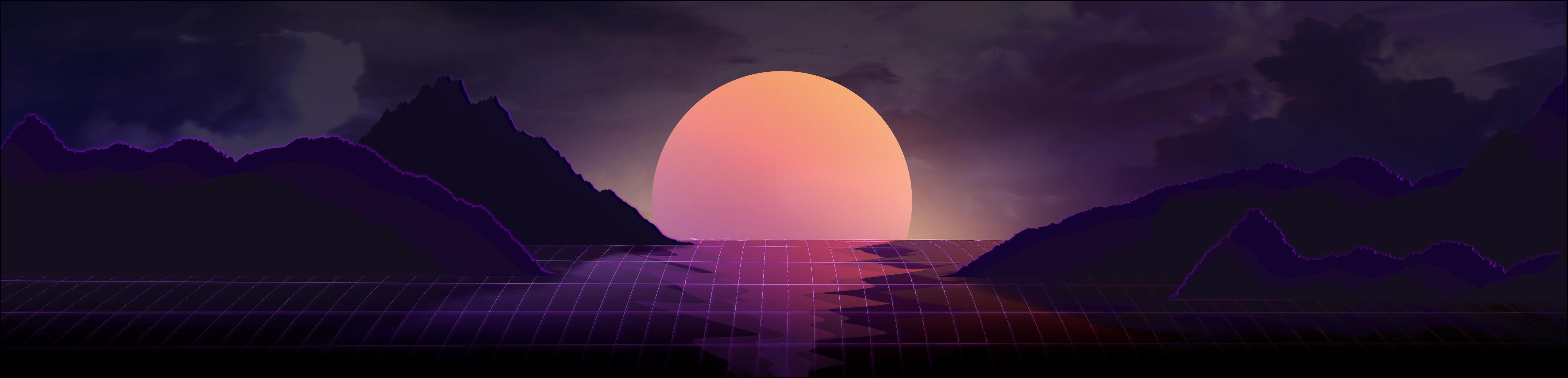 Vaporwave Sunset V2 4480x1080 Psd Iphone Wallpaper Vaporwave Waves Wallpaper Sunset Wallpaper