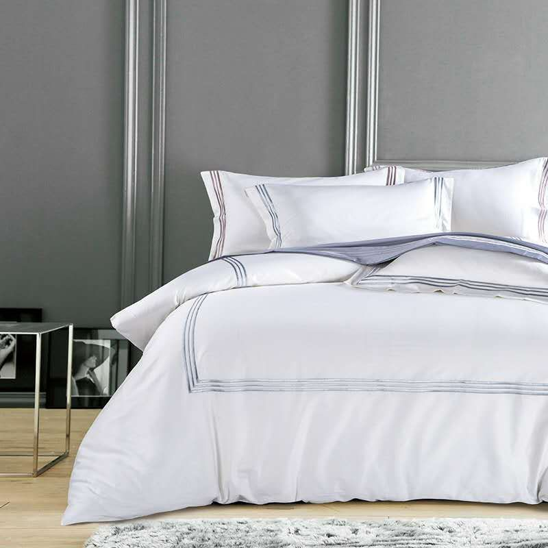Silky Egyptian Cotton Hotel White Bedding Set Chinese Embroidery Duvet Cover Set Queen King Size Bed Sheet B Hotel Bedding Sets White Bed Set King Bedding Sets