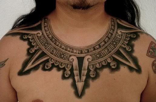 Grey Ink Egyptian Tattoo On Chest Collar Tattoo Aztec Tattoo Aztec Tattoo Designs