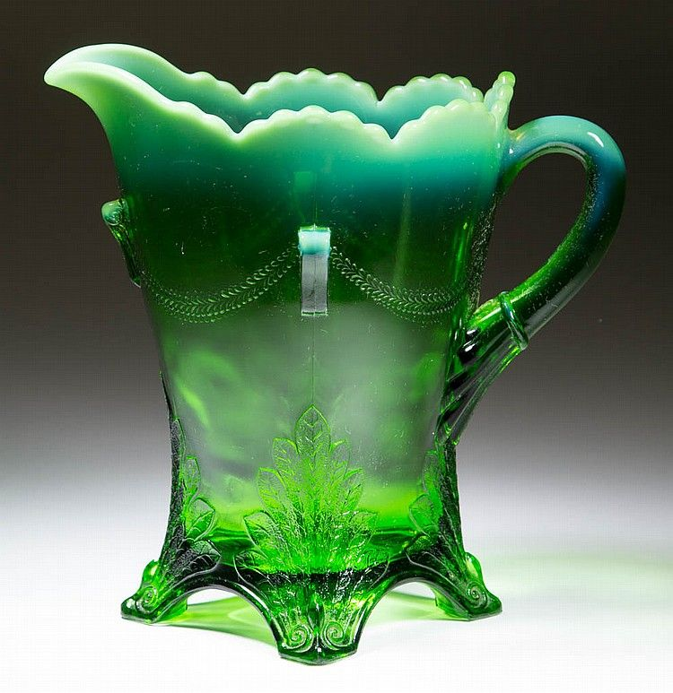SWAG WITH BRACKETS WATER PITCHER, green opalescent.  Jefferson Glass Co. Circa 1904. 8' H / SOLD 	$69