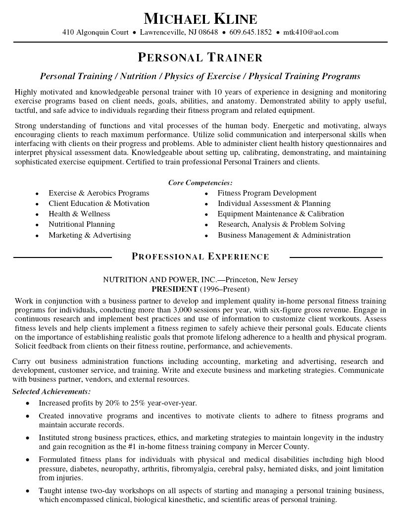 Personal Trainer Resume Objective Sample
