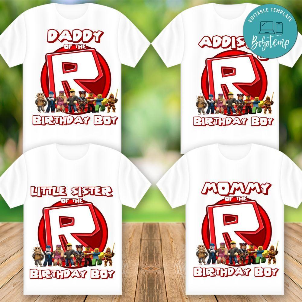 Printable Roblox Birthday Family Shirt Templates Diy In 2020
