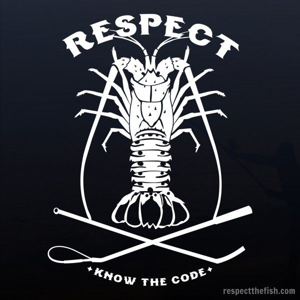 Respect the bug florida lobster window sticker in white professional grade outdoor vinyl