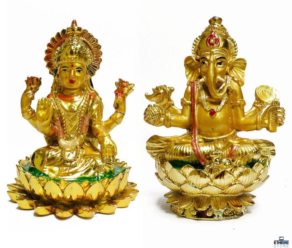 HINDU GODDESS MAHALAKSHMI LORD GANESHA STATUE FIGURINE RELIGIOUS