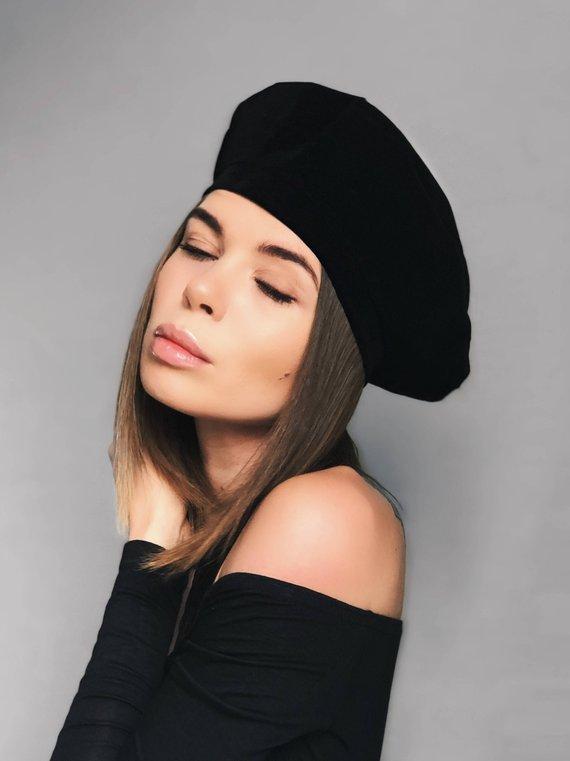 c74c3280870e84 black velvet beret, black beret, velvet beret, black headdress, black hat,