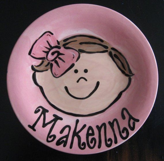 Hand Painted Personalized Childrens Plate via Etsy & Hand Painted Personalized Childrens Plate via Etsy   Ceramic ...