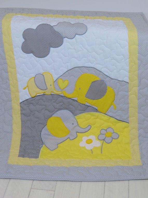 Grau Gelb Baby Decke Grauer Elefant Decke Krippe Decke