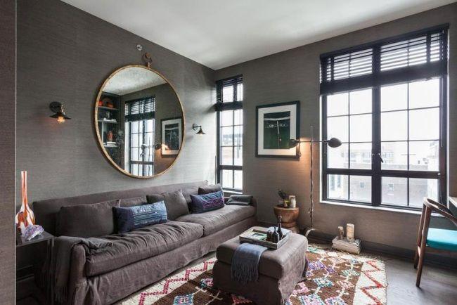 gemütliches zimmer brooklyn wohnung exotisch kohle grau teppich