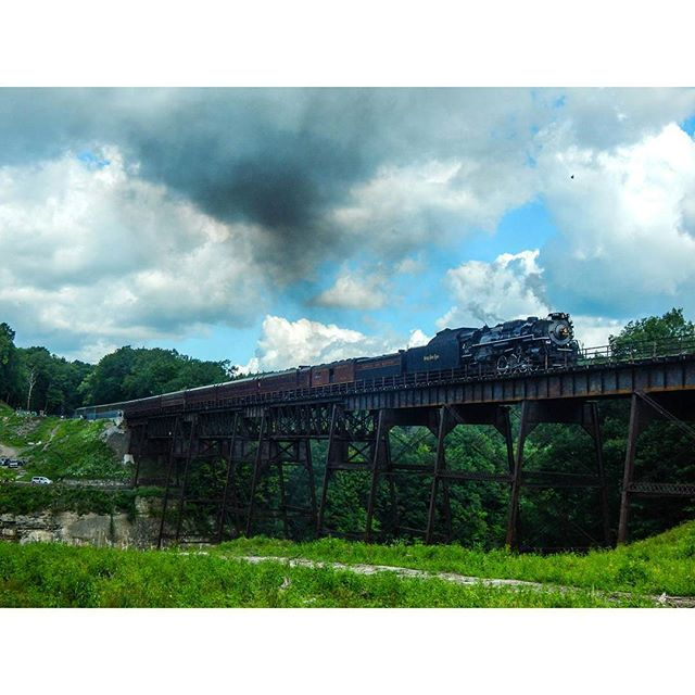 Had an awesome railfanning day today special thanks to my friends @kyle_z_trewer and Rich  for an epic chase of NKP765. I'll post more later but for starters here she is crossing the 1875 Erie RR trestle at Letchworth State Park. This trestle will be replaced next year and is in danger of being removed.  Portageville NY 8-1-15  #daily_crossing #train_chasers #trb_express #trains_worldwide #train_nerds #eisenbahnfotografie #artofrailroad #pocket_rail #rsa_theyards #railfans_of_instagram…