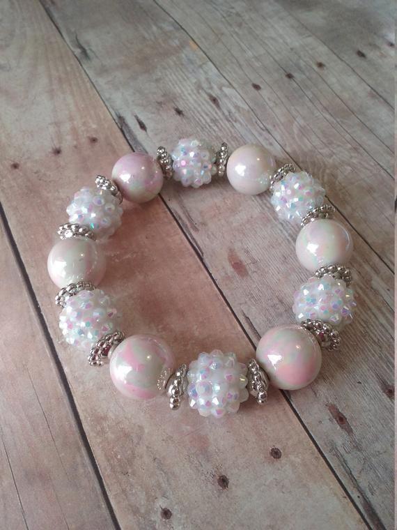 4f3ed3c6b Pink and white beaded bracelet, stretch bracelet, Valentines Day gift,  Handmade Jewelry,