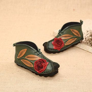 SOCOFY Retro Handmade Flower Pattern Soft Leather Flat Boots