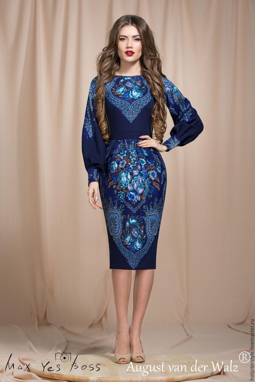 94c7685dd105f4d Купить или заказать Платье футляр с отделкой из Павлопосадского платка  'Магия стиля' в интернет