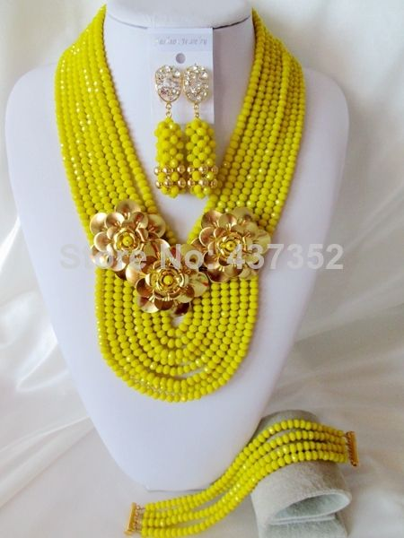 Fabulous New Arrived Lemon Yellow Crystal Beads Women Nigerian Wedding African Beads Bridal Jewelry Set Free Shipping CPS3935 $58.16