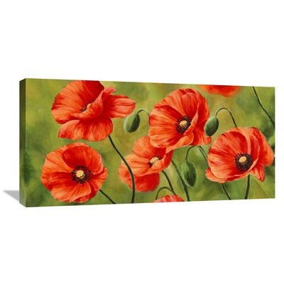 Global Gallery Field Of Poppies By Luca Villa Painting Print On Wrapped Canvas Wayfair Poppy Painting Poppy Art Flower Art Painting