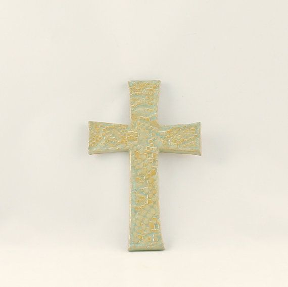 Hanging Cross in Celery by gypsypottery on Etsy (Home & Living, Home Décor, Wall Décor, Wall Hangings, cross, hanging cross, stoneware cross, ceramic cross, handmade cross, pottery cross)